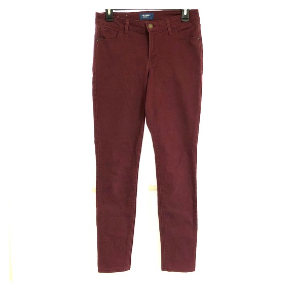Old Navy Denim - Old Navy Rockstar Mid-Rise Maroon Jeans Size 6